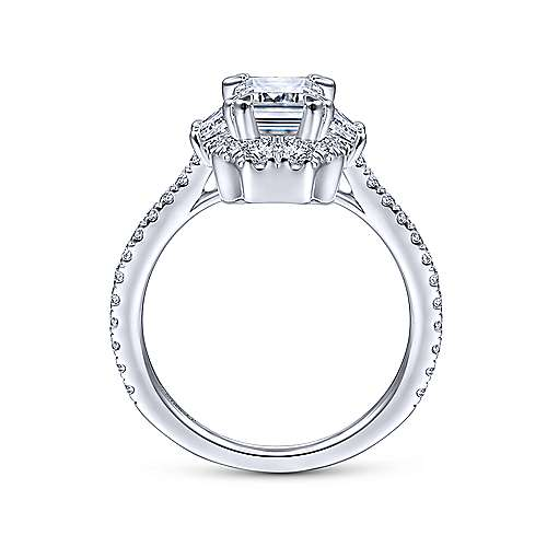 Art Deco 14K White Gold Halo Emerald Cut Diamond Engagement Ring