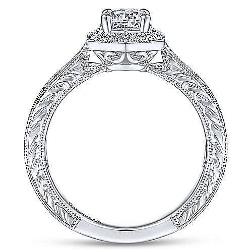 Art Deco 14K White Gold Hexagonal Halo Round Complete Diamond Engagement Ring