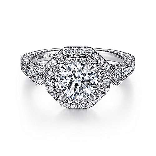 Art Deco 14K White Gold Octagonal Halo Diamond Engagement Ring