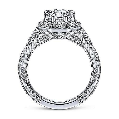 Art Deco 14K White Gold Octagonal Halo Diamond Engagement Ring