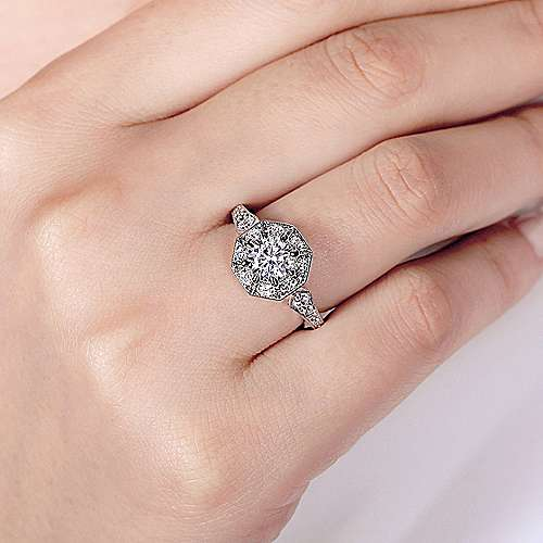 Art Deco 14K White Gold Octagonal Halo Engagement Ring