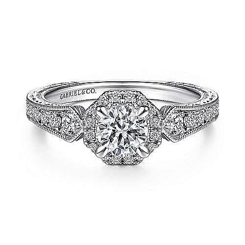 Art Deco 14K White Gold Octagonal Halo Round Complete Diamond Engagement Ring