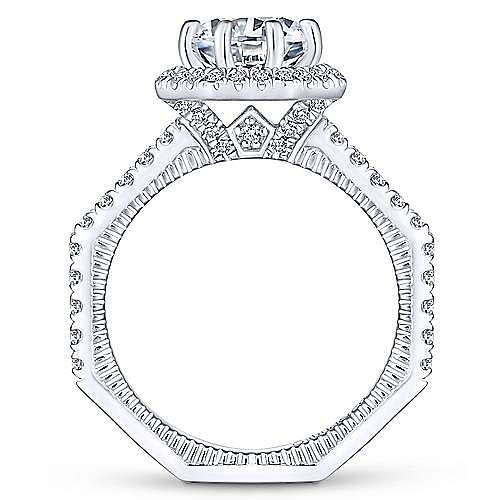 Art Deco 14K White Gold Octagonal Halo Round Diamond Engagement Ring