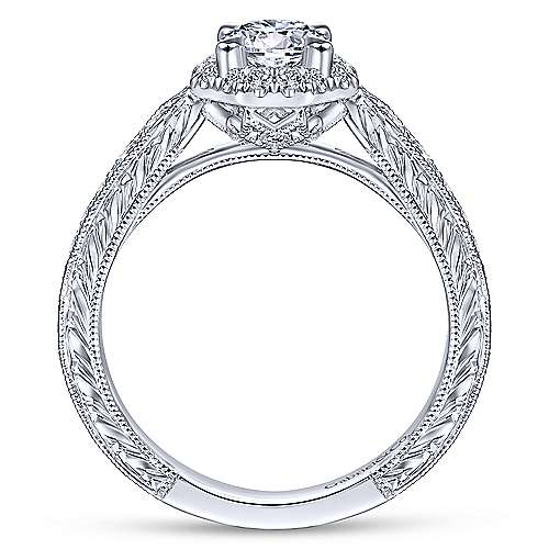 Art Deco 14K White Gold Octagonal Halo Round Diamond Engagement Ring