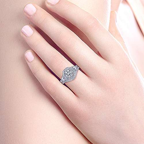 Art Deco 14K White Gold Octagonal Three Stone Halo Round Diamond Engagement Ring