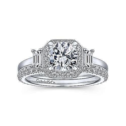 Art Deco 14K White Gold Octagonal Three Stone Halo Round Diamond Engagement Ring
