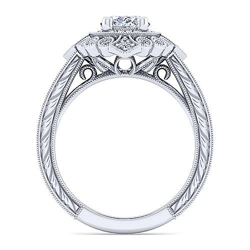 Art Deco 14K White Gold Oval Double Halo Diamond Engagement Ring