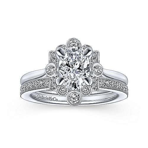 Art Deco 14K White Gold Oval Halo Diamond Engagement Ring