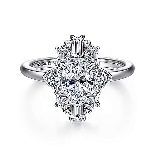 Art Deco 14K White Gold Oval Halo Diamond Engagement Ring