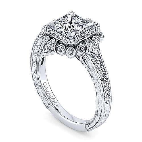 Art Deco 14K White Gold Princess Double Halo Diamond Engagement Ring