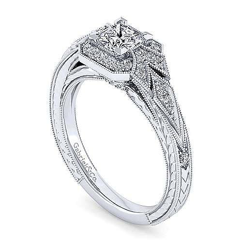 Art Deco 14K White Gold Princess Halo Diamond Engagement Ring