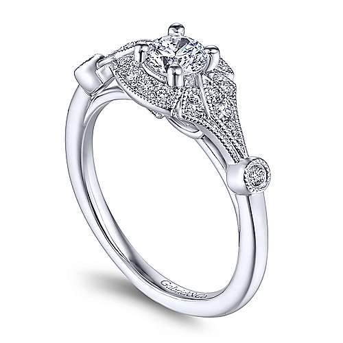 Art Deco 14K White Gold Round Halo Complete Diamond Engagement Ring