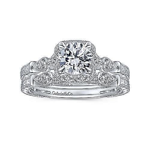Art Deco 14K White Gold Round Halo Diamond Engagement Ring