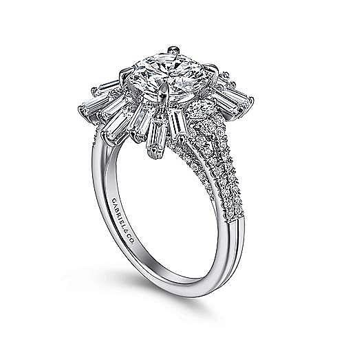 Art Deco 14K White Gold Starburst Halo Round Diamond Engagement Ring