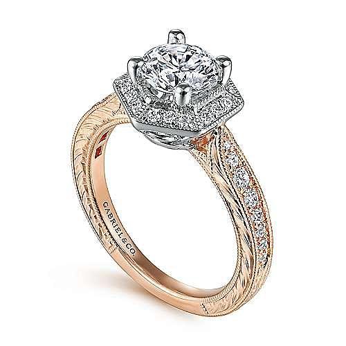 Art Deco 14K White-Rose Gold Hexagonal Halo Round Diamond Engagement Ring