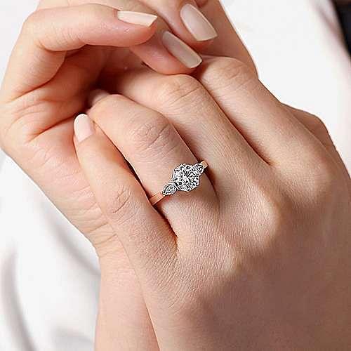 Art Deco 14K White-Rose Gold Round Diamond Engagement Ring