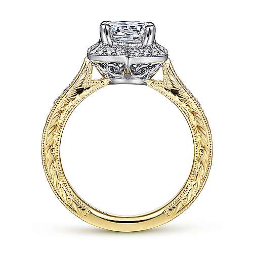 Art Deco 14K White-Yellow Gold Hexagonal Halo Round Diamond Engagement Ring