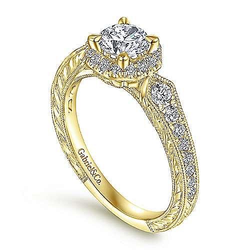 Art Deco 14K Yellow Gold Octagonal Halo Round Complete Diamond Engagement Ring
