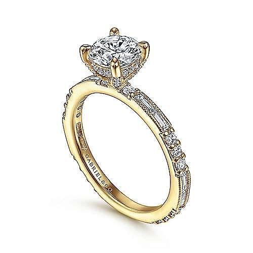 Art Deco 14K Yellow Gold Round Diamond Engagement Ring