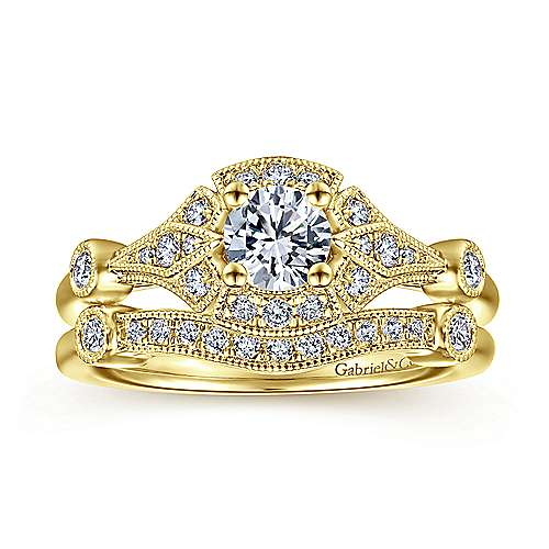 Art Deco 14K Yellow Gold Round Halo Complete Diamond Engagement Ring