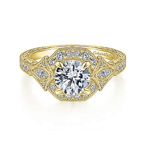 Art Deco 14K Yellow Gold Round Halo Diamond Engagement Ring