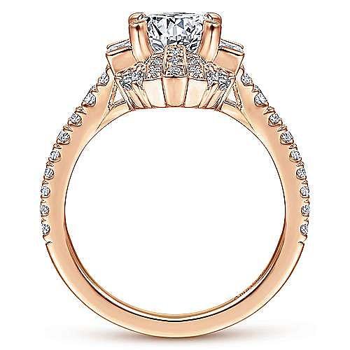 Art Deco 18K Rose Gold Fancy Halo Round Diamond Engagement Ring