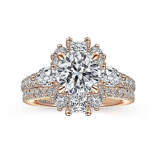 Art Deco 18K Rose Gold Fancy Three Stone Halo Round Diamond Engagement Ring