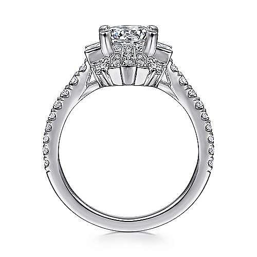 Art Deco 18K White Gold Fancy Halo Round Diamond Engagement Ring