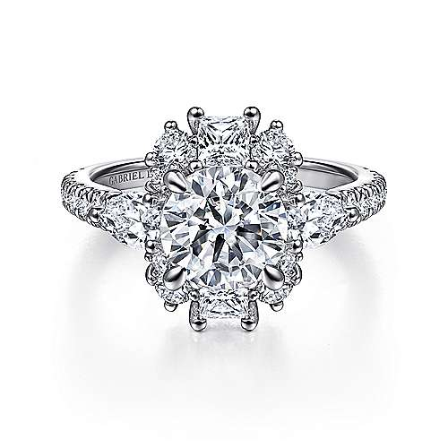 Art Deco 18K White Gold Fancy Three Stone Halo Round Diamond Engagement Ring