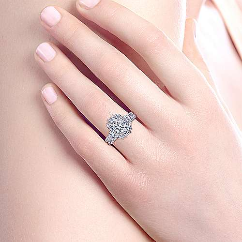 Art Deco 18K White Gold Fancy Three Stone Halo Round Diamond Engagement Ring
