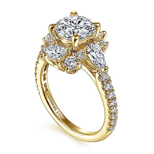 Art Deco 18K Yellow Gold Fancy Halo Round Diamond Engagement Ring