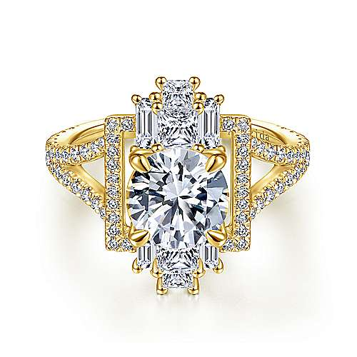 Art Deco 18K Yellow Gold Fancy Halo Round Diamond Engagement Ring
