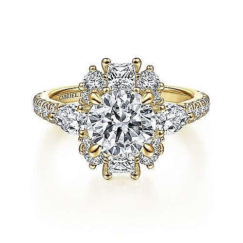 Art Deco 18K Yellow Gold Fancy Three Stone Halo Round Diamond Engagement Ring