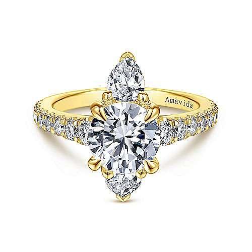 Art Deco 18K Yellow Gold Round Halo Diamond Engagement Ring