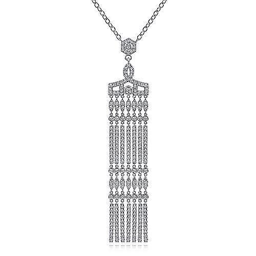 Art Deco Inspired 18K White Gold Diamond Pavé Tassel Pendant Necklace