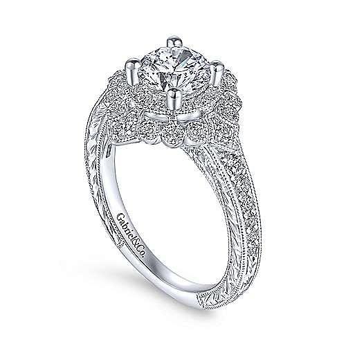 Art Deco Platinum Round Double Halo Diamond Engagement Ring