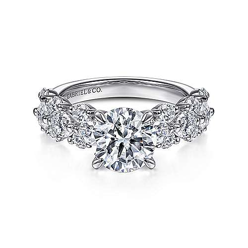Gabriel - Artesia 14k White Gold Round Straight Engagement Ring