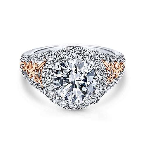 Gabriel - Aruba 14k White And Rose Gold Round Halo Engagement Ring