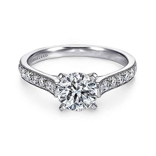 Gabriel - Ashley 14k White Gold Round Straight Engagement Ring