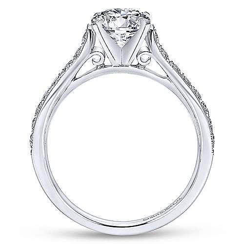 Ashley 14k White Gold Round Straight Engagement Ring angle 2