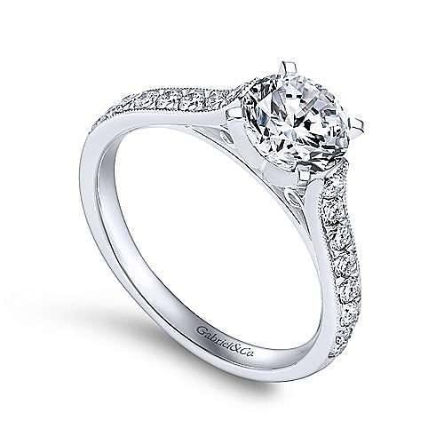 Ashley 14k White Gold Round Straight Engagement Ring angle 3