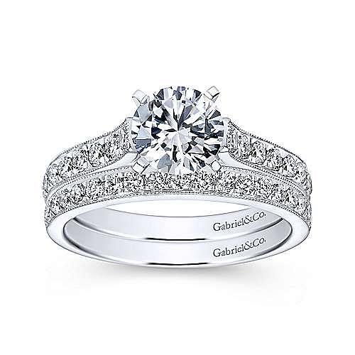 Ashley 14k White Gold Round Straight Engagement Ring angle 4