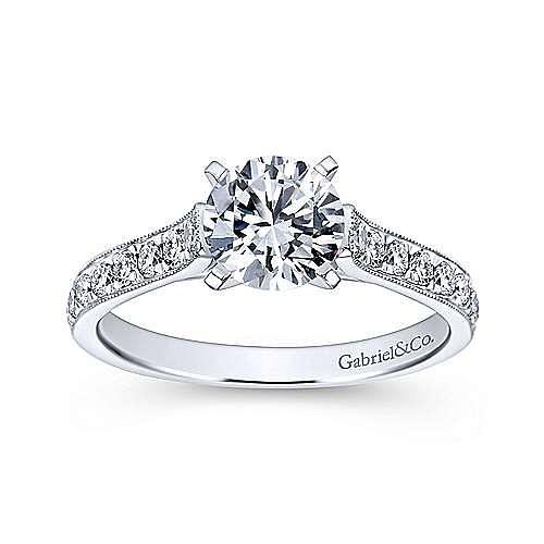 Ashley 14k White Gold Round Straight Engagement Ring angle 5