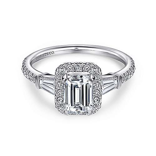Gabriel - Ashton 14k White Gold Emerald Cut Halo Engagement Ring