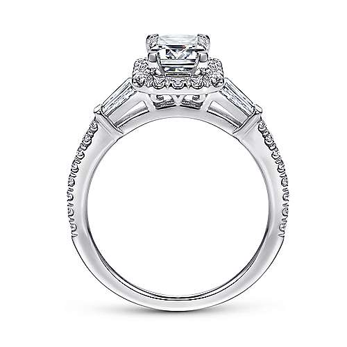 Ashton 14k White Gold Emerald Cut Halo Engagement Ring angle 2
