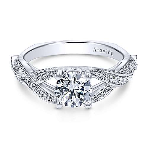 Gabriel - Asia 18k White Gold Round Twisted Engagement Ring
