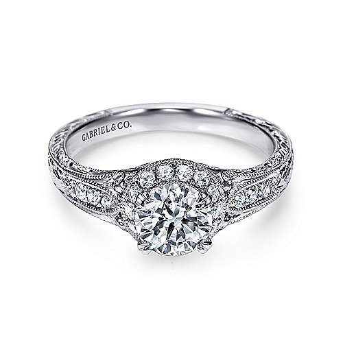 Gabriel - Aspen Platinum Round Halo Engagement Ring