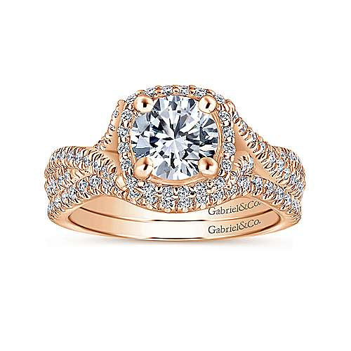 Aster 14k Rose Gold Round Halo Engagement Ring angle 4