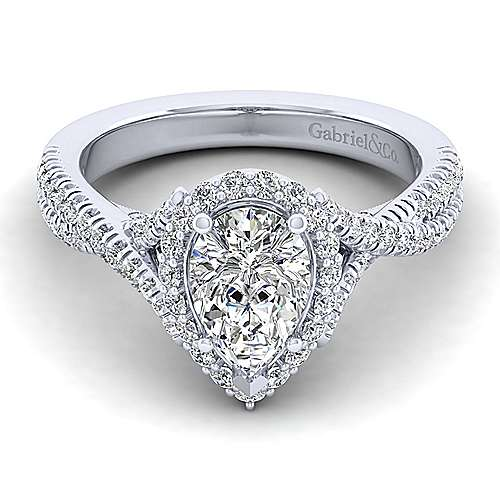 Gabriel - Aster 14k White Gold Pear Shape Halo Engagement Ring