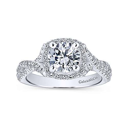 Aster 14k White Gold Round Halo Engagement Ring angle 5